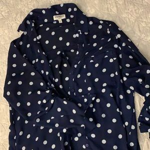 Button up blouse. Navy with white polka dots.